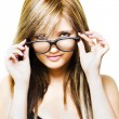 Isolated Sexy Girl Wearing Glasses On White — Stock Photo #10755144
