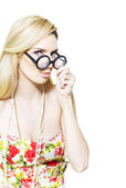 Stereotypical nerd in glasses — Stock Photo