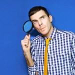 uomo d'affari, con domande alla ricerca di risposte — Foto Stock