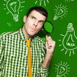 Stockfoto: BusinessmWith Creative IdeOn Green Background