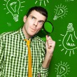 Businessman With Creative Idea On Green Background — Stock Photo