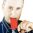 Business person cutting the red tape - Stock Photo