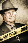 Vintage portrait of a crime detective — Foto Stock