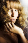 Woman with beautiful wavy hair — Stock Photo