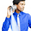 Stock Photo: Tin can telephone communication