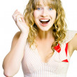 Stock Photo: Happy excited woman with wide smile