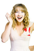 Happy excited woman with wide smile — Stock Photo