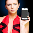 Person With Smart Mobile Phone And Blank Screen - Stock Photo