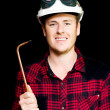 Stock Photo: Confident smiling panel beater with welder