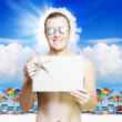 Stock Photo: Man at tropical resort in vacation paradise