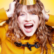 Crazy and overjoyed party girl — Foto Stock