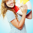 Excited woman on a fun tropical vacation — Stock Photo