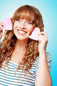 Beautiful Young Woman In A Love Heart Romance — Stock Photo