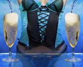 Sexy žena v champagne oslava — Stock fotografie