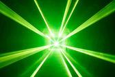 Groene laser lichte achtergrond met rook — Stockfoto