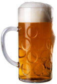 Big glass with beer on a white background — Stock Photo