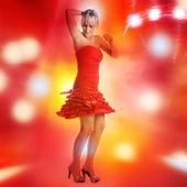 Beautiful girl is dancing in smoke and lights — Foto Stock