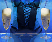 Sexy woman at a champagne celebration party — Stock Photo
