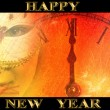 New year party background with masked woman and clock - Stock Photo