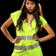 Stock Photo: Sexy womwith safety jacket and helmet
