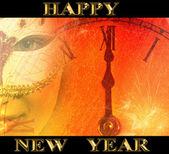 Nouvel an partie de fond avec la femme masquée et horloge — Photo