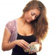 Girl with wallet in hand — Stock Photo