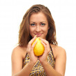 Stock Photo: Girl with a lemon