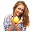 Beautiful girl with a lemon — Stock Photo