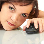 Girl with mouse — Stock Photo