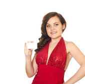 Girl with a business card — Стоковое фото