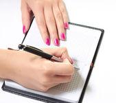 Schrijven in dagboek — Stockfoto