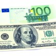 Stock Photo: Banknotes of 100 dollars and 100 euro