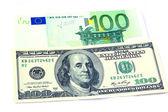 Banknotes of 100 dollars and 100 euro — Stock Photo