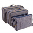 Vintage Blue Tweed Suitcase Set Isolated — Stock Photo