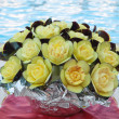 Stock Photo: Flower decoration of ripe eggplants