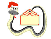 Snake in a Santa Claus hat with a paper in the tail — Stock Vector
