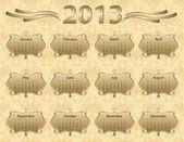 Ano calendário de 2013 em estilo vintage — Vetor de Stock