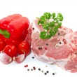 Royalty-Free Stock Photo: Raw meat with vegetables and spices on a white background