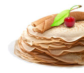 Pancakes with cherries on a white background — Stock Photo