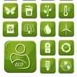 Ecology and green environment buttons set — Stock Vector