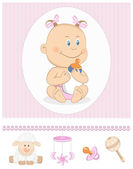 Cartoon baby girl with milk bottle and toy icons — Stock Vector