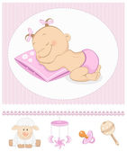 Sleeping sweet girl arrival announcement — Stock Vector