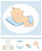 Sleeping baby boy arrival announcement — Stock Vector
