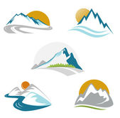 Blue mountains emblem set — Stock Vector