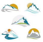 Ensemble de montagnes bleues emblème — Vecteur