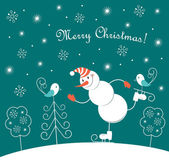 Christmas skating happy snowman — Stock Vector