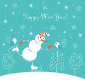 New Year skating happy snowman — Stock Vector