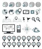 Umístění a určení ikony — Stock vektor