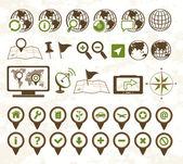 Style militaire de localisation icônes — Vecteur