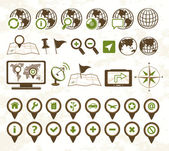 Locatie pictogrammen militaire stijl — Stockvector